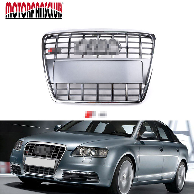 1Pcs Car Racing Grill For Audi A6 C6 Avant Quattro S6 2005-2011 Grille With Logo Radiator Chrome Front Bumper Modify Covers Mesh radiator cooling fan relay control module for audi a6 c6 s6 4f0959501g 4f0959501c