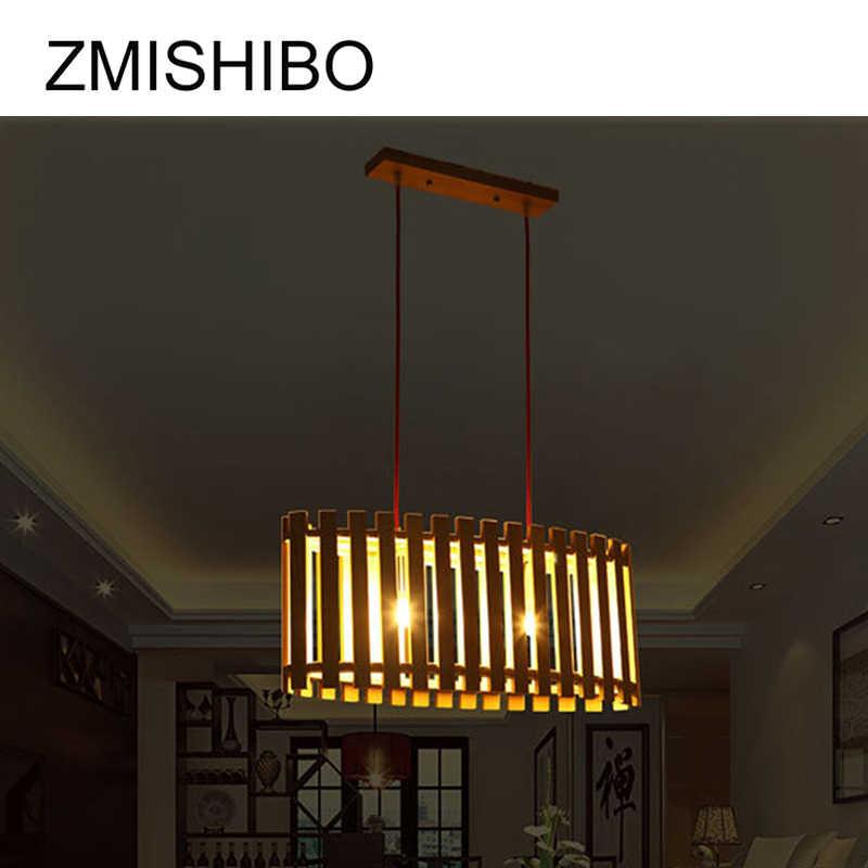ZMISHIBO современные подвесные потолочные лампы светодиодные E27 база подвесной светильник деревянная овальная забор подвесной светильник подвесные светильники для фойе