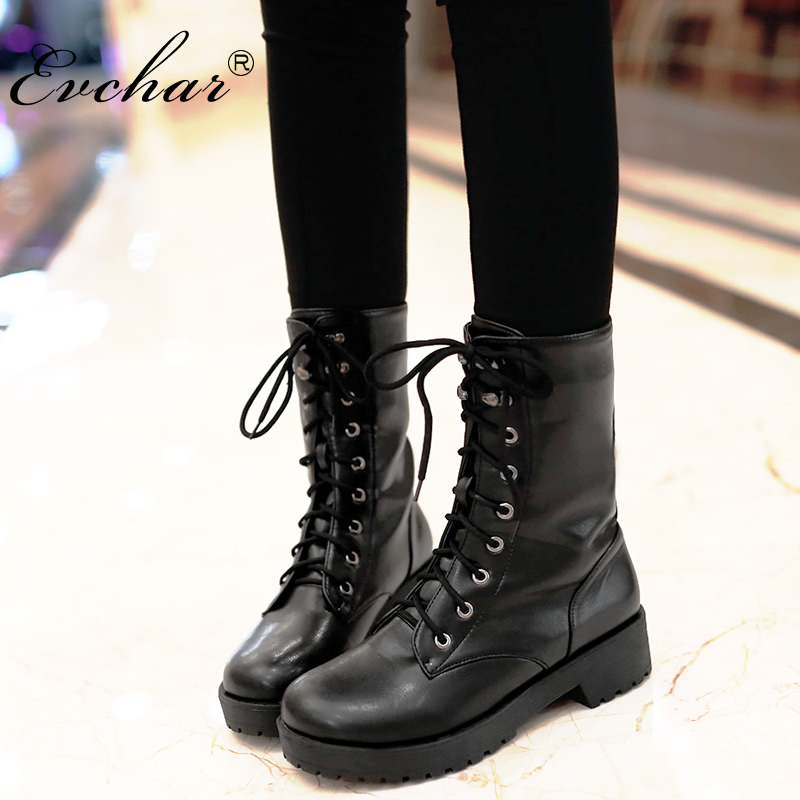 New Handmade Autumn and Winter Lace Up Mid Calf Boots Women Chunky Heel Round Toe Motorcycle Low Heel Boots Large Size 34-43