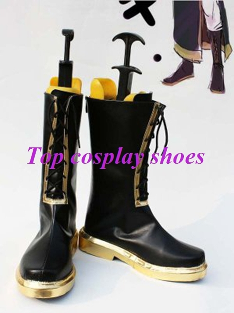 Vocaloid Megurine Luka Black Gold Cosplay Boots