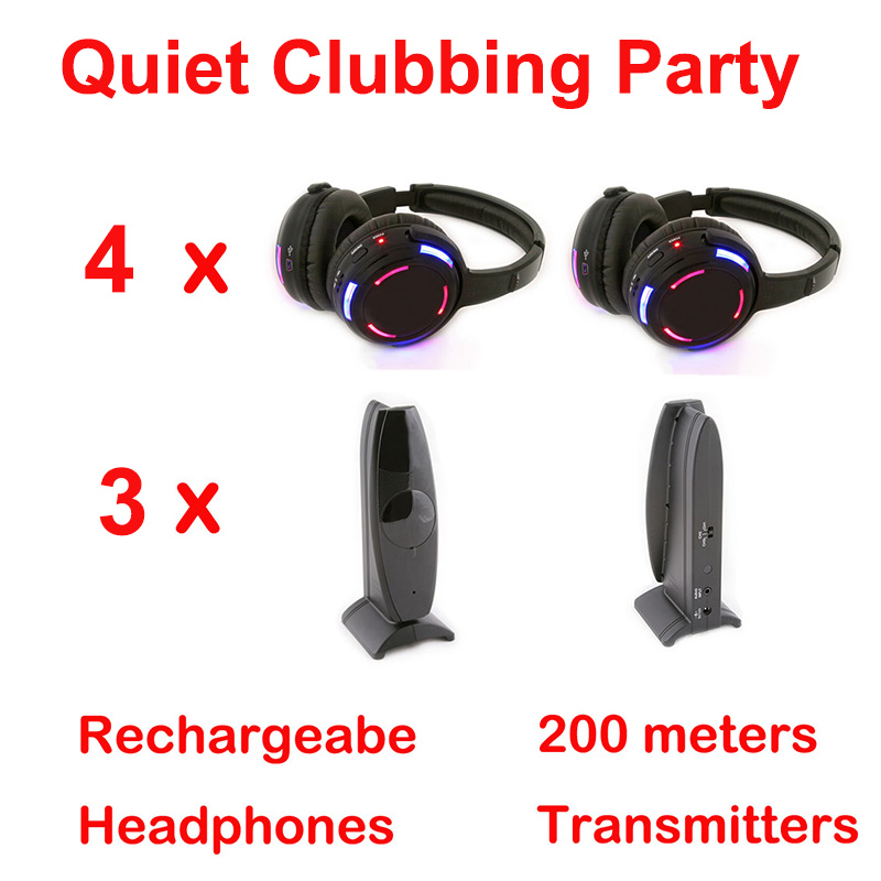 Silent Disco complete system black led wireless headphone - Quiet Clubbing Party Bundle (4 Headphones + 3 Transmitters)