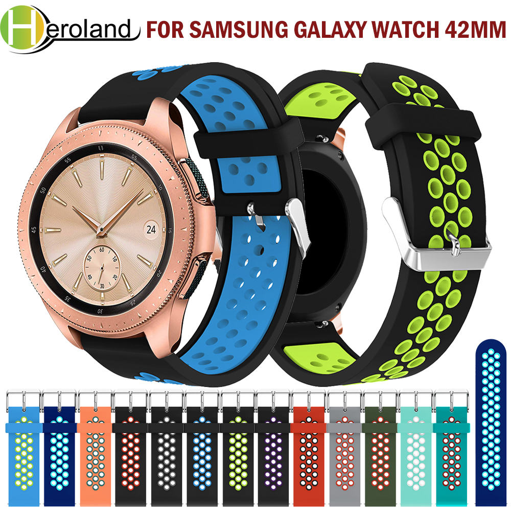 2019 New Silicone Strap Band  20mm Replacemet For Samsung Galaxy Watch 42mm Wristband  Smart Watchband 2 Colors Round Hole Belt