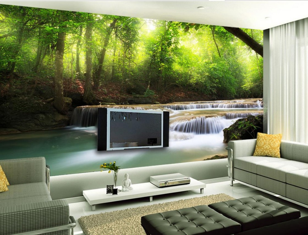 stream mural forest 3d waterfall background backdrop decoration hvac sofa landscape paintings custom tv