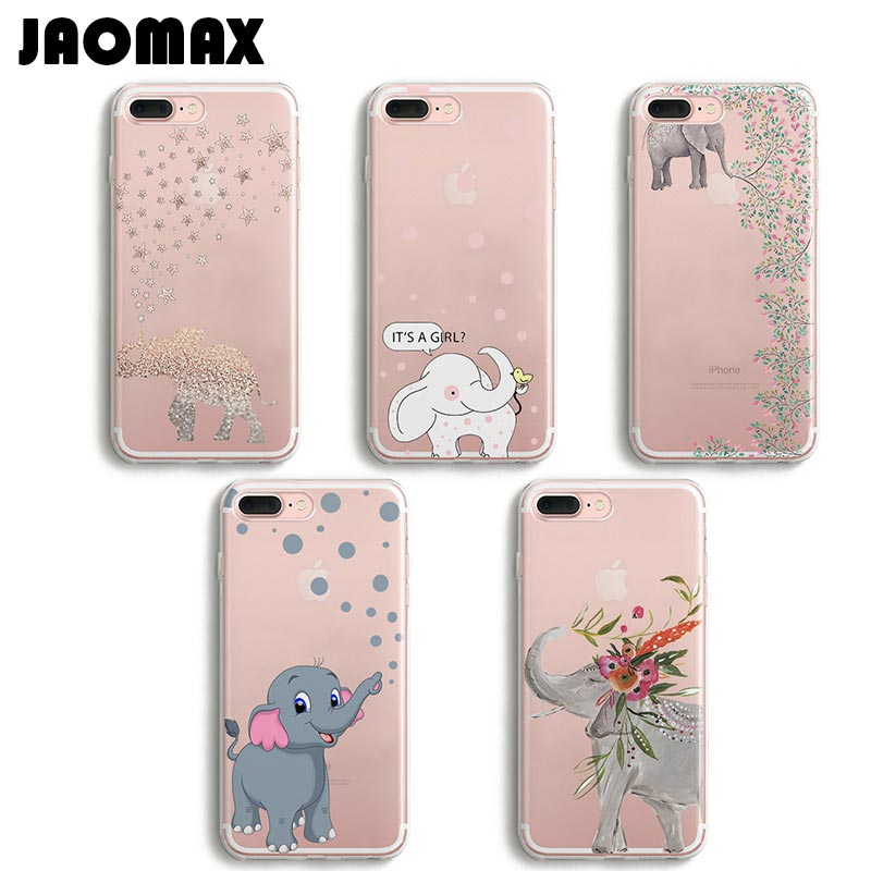 half off 819d1 68cad Jaomax Cute Cartoon Animal Elephant Case For iPhone 6 6S 8 Plus 5 5S SE 7  Plus X Transparent Silicone TPU Phone Cases Shell Capa