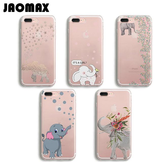 sale retailer a4d7b fecac US $1.99 |Jaomax Cute Cartoon Animal Elephant Case For iPhone 6 6S 8 Plus 5  5S SE 7 Plus X Transparent Silicone TPU Phone Cases Shell Capa-in Fitted ...