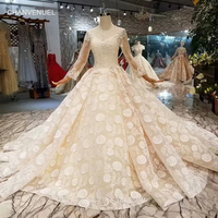 LSS371 appliques champagne wedding gown with long train o-neck long tulle sleeves  wedding dresses 2a1847dd1268