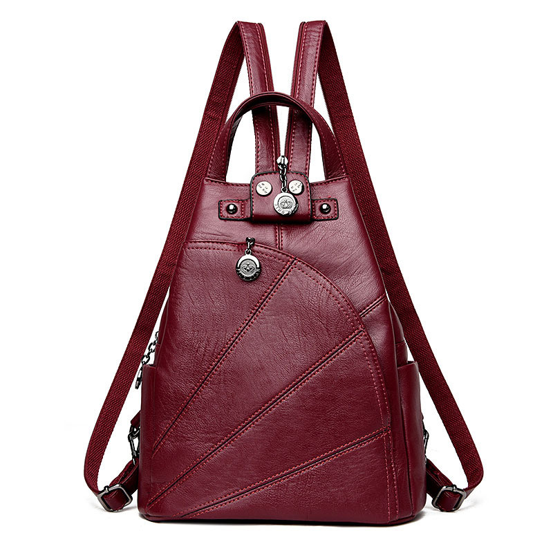 Fashion Women Backpack Soft PU Leather Backpacks Female School Shoulder Bags for Teenage Girls Vintage Leisure Travel Back Pack new vintage backpack canvas men shoulder bags leisure travel school bag unisex laptop backpacks men backpack mochilas armygreen