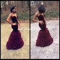 Vestidos de baile menina 2017 estilo africano de veludo cor de vinho preto querida sereia evening dress vestidos de festa longo vestidos de festa