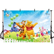 Winnie Tiger Dance Party Gifts Balloons House Custom Photo Studio Backdrop Background Vinyl 220cm X 150cm 7x5ft shimmer and shine birthday party custom photo studio backdrop background banner vinyl 220cm x 150cm