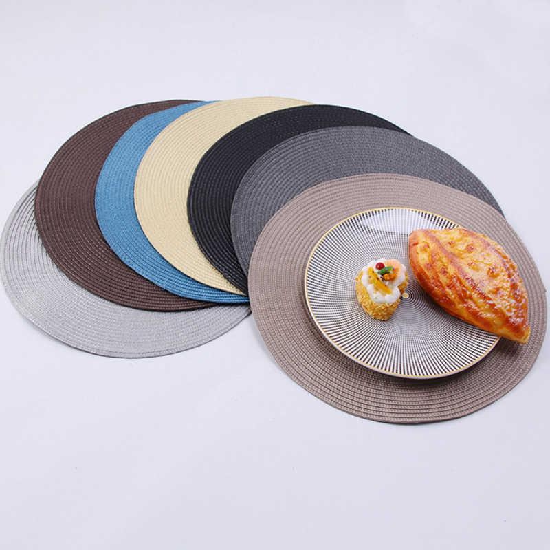 รอบสานเสื่อตาราง Placemat สไตล์ Dining ผ้าเช็ดปากแผ่นทนความร้อนกันลื่น Coaster Cushion ตกแต่งห้องครัว