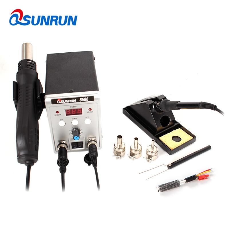 Qsunrun New 8586 2 in 1 SMD BGA Rework Station 110V 220V 700W IC Soldering Station