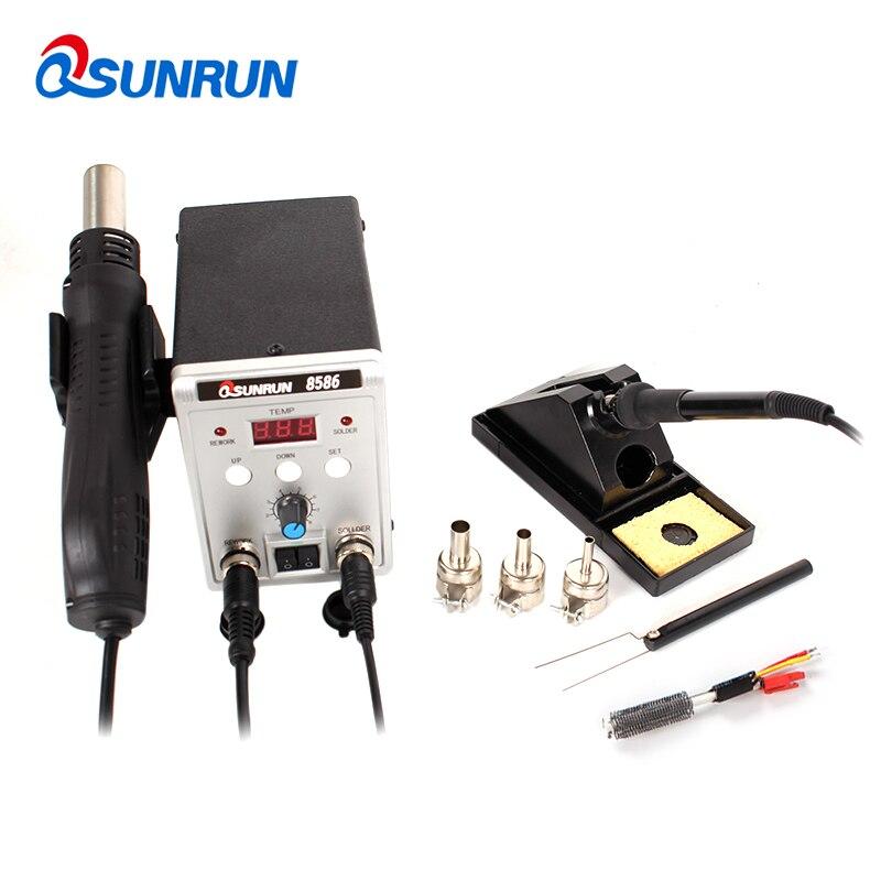 Qsunrun New 8586 2 in 1 SMD/BGA Rework Station, 110V/220V 700W IC Soldering Station with Hot Air Gun,Solder Iron,Air nozzles-in Soldering Stations from Tools    1