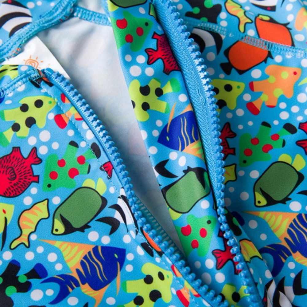 الطفل الأولاد ملابس السباحة قطعة واحدة الأسماك طباعة الشمس واقية سحاب أكمام طويلة طفل الصبي ملابس السباحة لباس سباحة مع رفرف قبعة السباحة