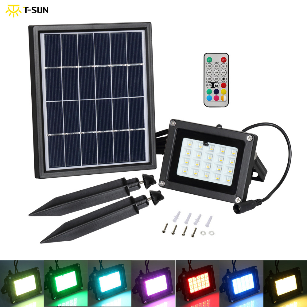 T-SUNRISE Solar Light 10W 20 LED Lampu Luaran kalis air IP65 LED Flood Light Garden Lawn Lamp Landscape Spot Lights