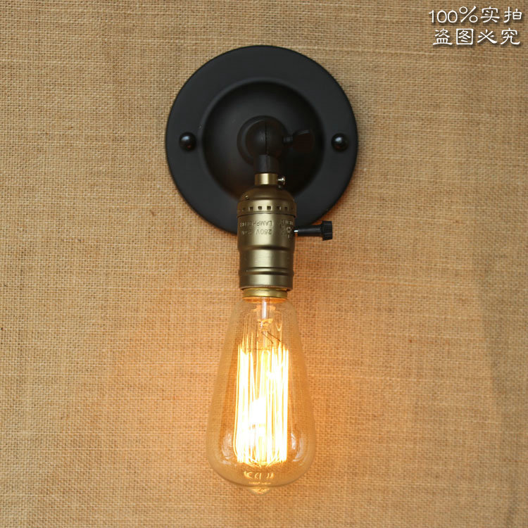 American Countryside Loft Style Iron Wall Lamp Retro Living Room Bedroom Light Industry Vintage Decorative Light Free Shipping