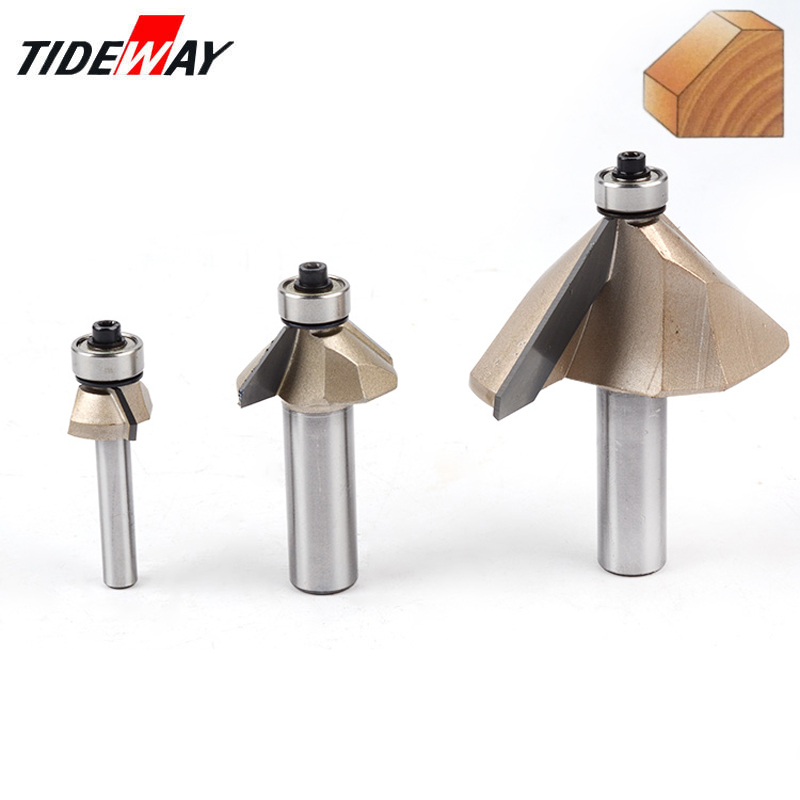 Tideway 1/4 Shank Chamfer Cutter Router Bits for wood Horse Nose Bit 45 Deg CNC Woodworking Tools two Flute endmil 1pcs large bowl router bit 1 2 shank cnc woodworking tungsten carbide horse nose bit router bits woodworking tools