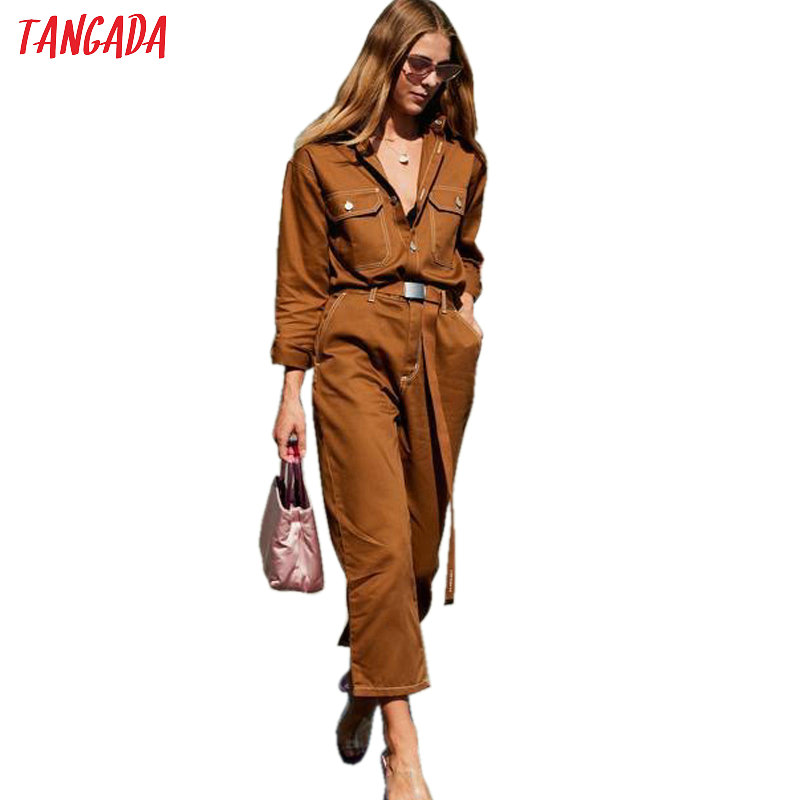 Tangada Women Denim   Jumpsuit   Romper Long Sleeve Belt Black White 2019 Lady Jeans   Jumpsuit   Sexy Female Streetwear Overalls 5A03