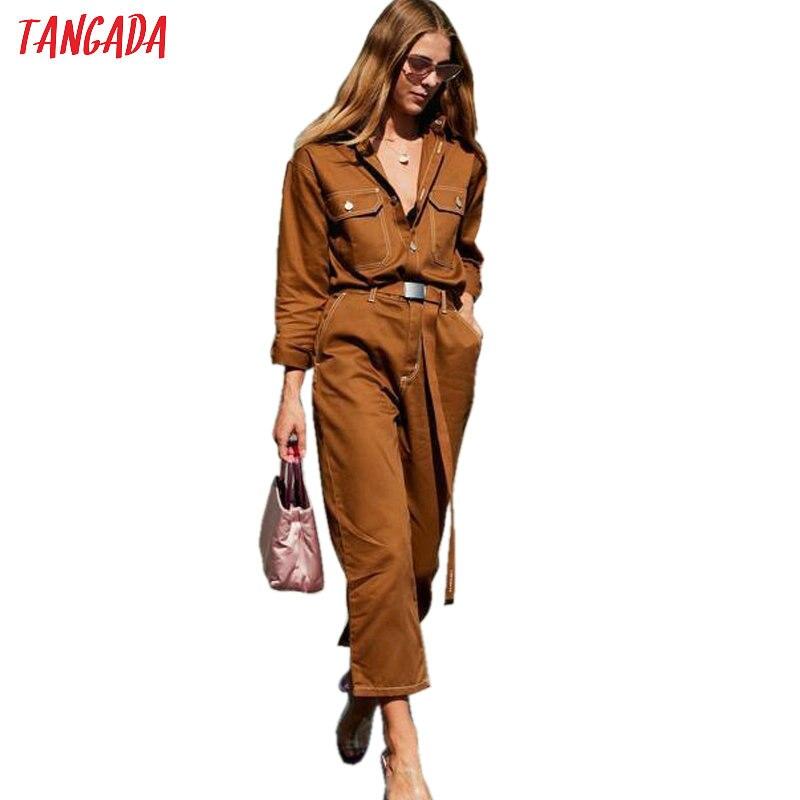 Tangada femmes Denim combinaison barboteuse à manches longues ceinture noir blanc 2019 dame Jeans combinaison Sexy femme Streetwear salopette 5A03