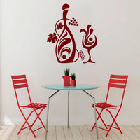 Grapevine Wall Decals Vinyl Wine Glass Wall Stickers For Bar Kitchen Floral Bottle Home Decor Art