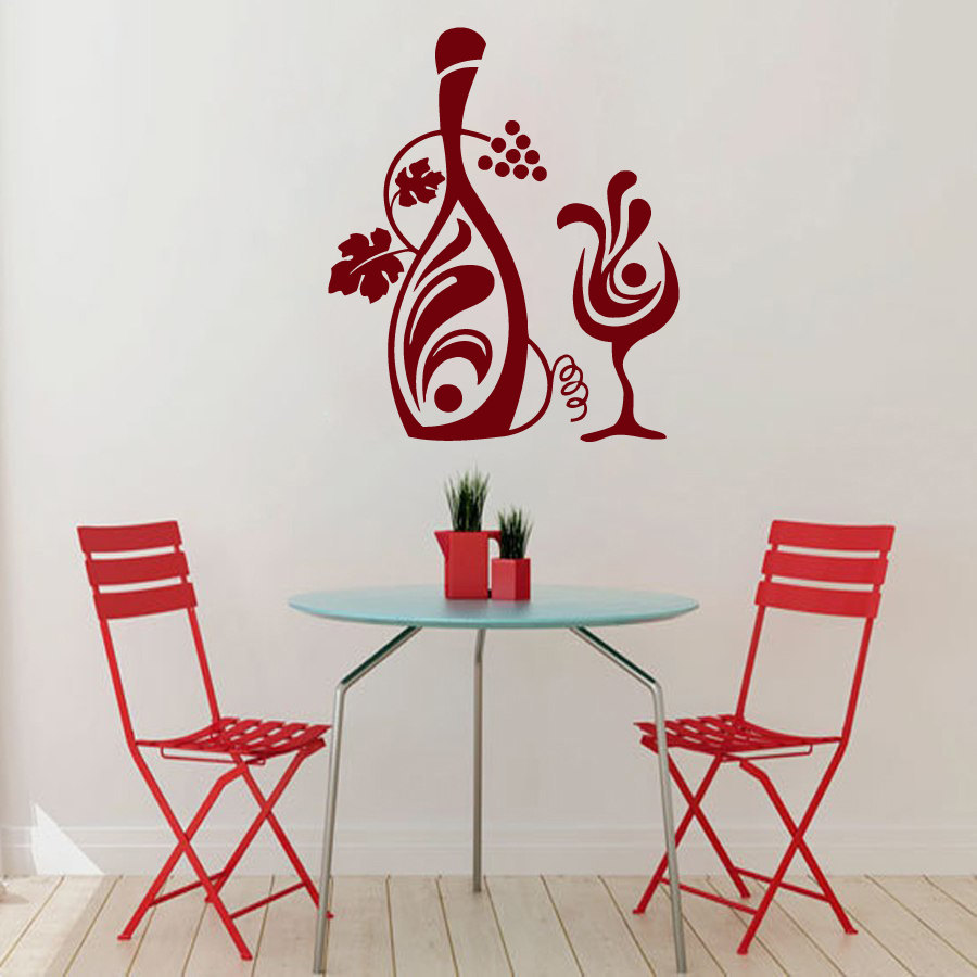 Grapevine Wall Decals Vinyl Wine Glass Wall Stickers For