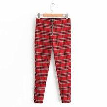 9b581ceca5b Kobiety moda Plaid spodnie 2019 lato wysokiej elastyczności fałszywe zamki  ołówek kobiece spodnie Tight Casual czerwone spodnie .