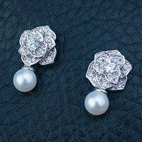 Cultured Freshwater Pearl Earrings Stud 925 Sterling Silver Camellia Rose CZ Elegant Princess Birthstone Woman Girl Jewelry Gift