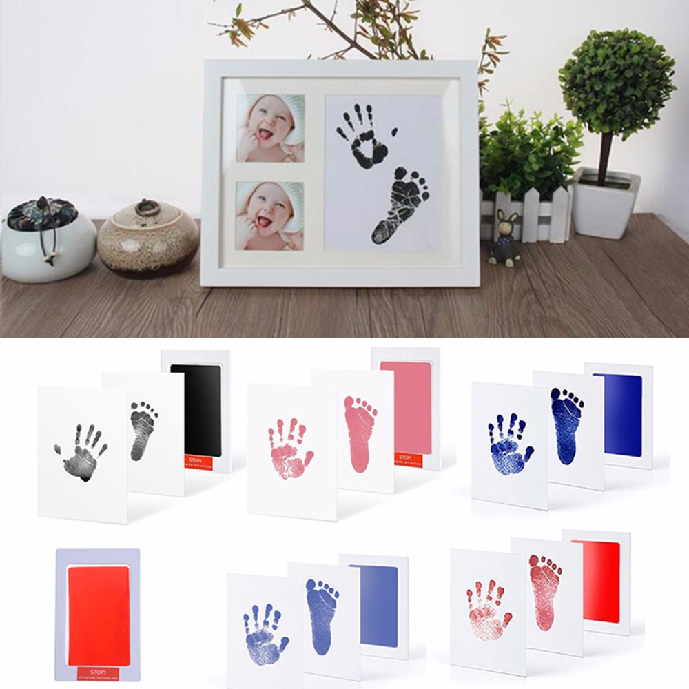 baby handprint footprint kit newborn baby photo album personalized footprint decorations box an88 Baby Handprint Footprint Non-Toxic Newborn Imprint Hand Inkpad Watermark Infant Souvenirs Casting Clay Toys Gifts