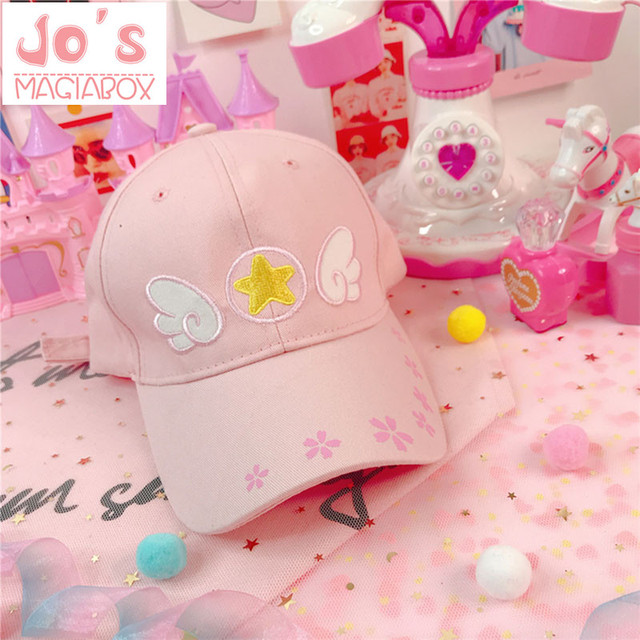 6b0772623fb4 Chic Women Cap Sweet Pink Star Embroidery Wing Adjustable Peaked Cap  Sunscreen Hat Harajuku Cute Style for Teenager Girls