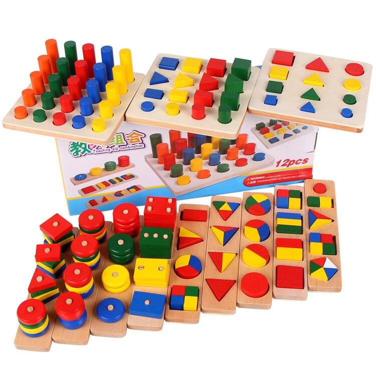 Préscolaire Montessori matériaux mathématiques géométrie aides pédagogiques en bois puzzle jouets jouets éducatifs pour enfants cadeau brinquedos