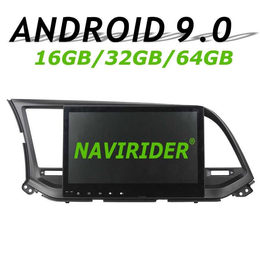 """Navirider GPS navigasyon Hyundai Elantra 2016 tam dokunmatik 10.1 """"araba android 9.0 8 çekirdekli 64gb rom radyo bluetooth oyuncu stereo"""