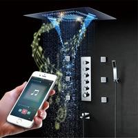 Музыка светодиодный душем 800*600mm спрей душ водопад, Дождь Термостатический для ванных и душевых смесители блок Динамик дождя