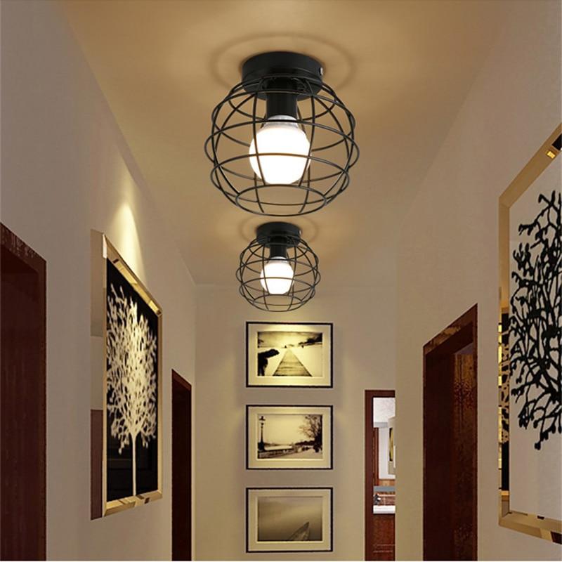 HTB1klObbvjsK1Rjy1Xaq6zispXa8 Modern nordic black wrought iron E27 led ceiling lamps for kitchen living room bedroom study balcony porch restaurant cafe hotel