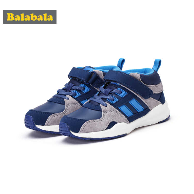 Balabala Boys Fleece-Lined Sneakers with Hook-and-loop Strap for Kids Toddler Boy with Contrasting Detail Retro Style