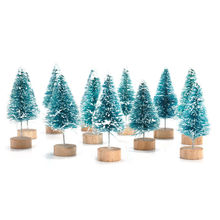 12x mini sisal bottle brush christmas trees santa snow frost village house - Bottle Brush Christmas Trees