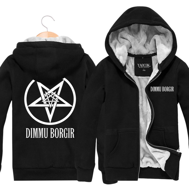 2015 Winter Thick Warm Hip Hop Mens Hoodies And Sweatshirts Printed Dimmu Borgir Rock Roll Band Cardigan Plus Velvet Jackets 3XL