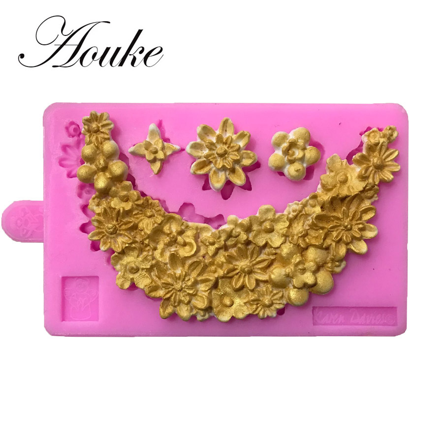 Aouke 1PCS Flowers Decorating Shape,3D Silicone Fondant Cake Mold. For Cake Decorating, Jelly, Chocolate, Soap Modeling X119