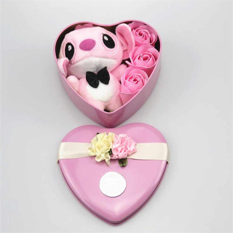 Handmade encantador ponto brinquedos de pelúcia com flores de sabão da forma do coração caixa de presente criativo Dos Namorados e presente de aniversário para as meninas