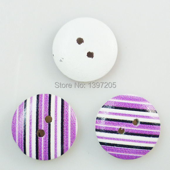 100PCS stripe shape painting purple wooden buttons 15MM sewing clothes boots coat accessories MCB-396