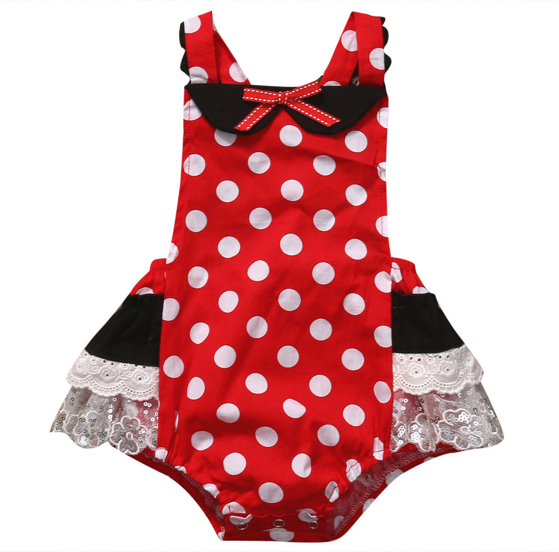 2017 Minnie Mouse Polka Dot Baby Set Newborn Infant Baby Girl Summer   Romper   Baby Jumpsuit Lace Outfit Sunsuit Children Clothing