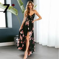 Backless Summer Dress Lace Up Back Split Floral Print Strap Maxi Dress Boho Style Chiffon Deep