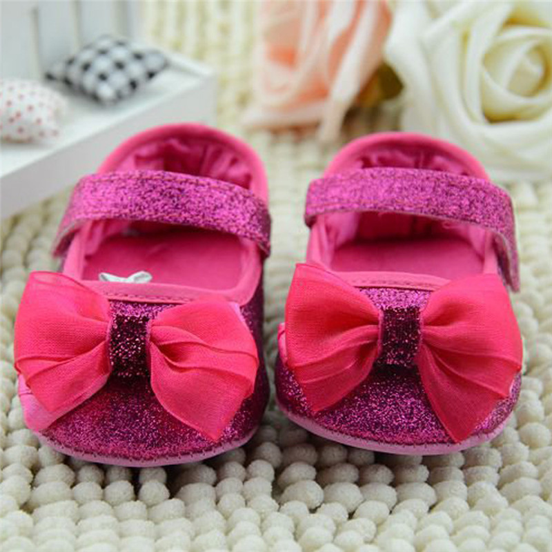 Baby Shoes Infant Toddler Shoes Shallow Sequins Bling Flower Bow Crib Shoes First Step Soft Sole Kid Girls Dress Crib Shoes