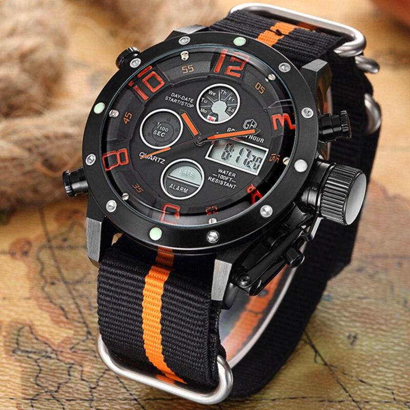 Fashion Men Sports Watches Hot Brand Digital Watches Military Quartz Watches Black Nylon Gift Wristwatches Relogio Masculino