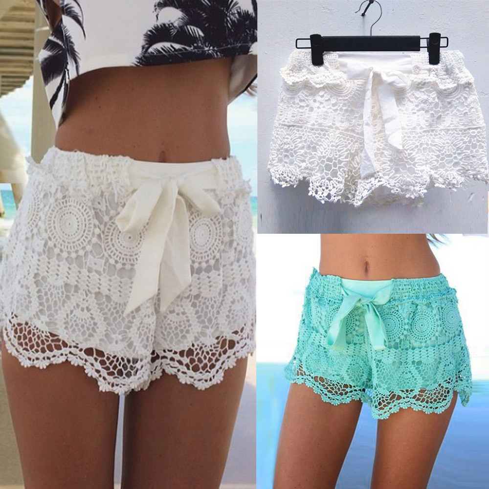 Womail Women Shorts  Summer Elastic Waist Lace Crochet Beach Mini Shorts Hot Shorts Daily Casual Shorts Denim Color  J23