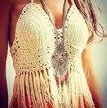 Más el Tamaño de Ganchillo Crochet Top Recortada Crop Top Fitness 2015 Verano estilo Más Tamaño Desgaste de la Playa Las Mujeres Tops Negro Blanco Strappy Bra