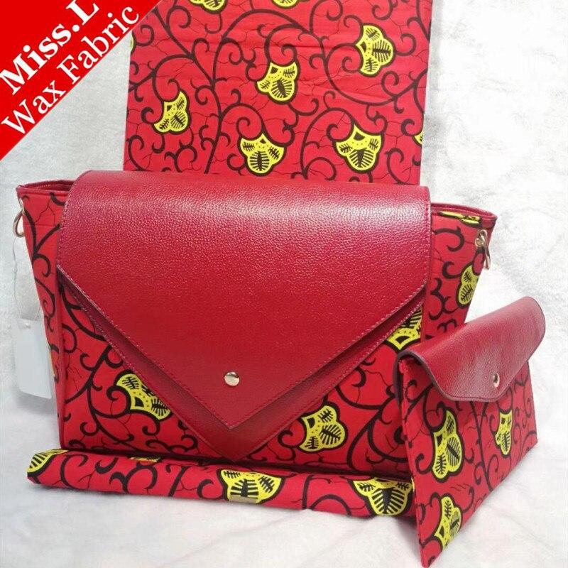 Belle Femmes Épaule sac assorti de haute qualité 6 yards réel super cire hollandais tissu/Nouveau Design Africain Cire sacs Ensemble