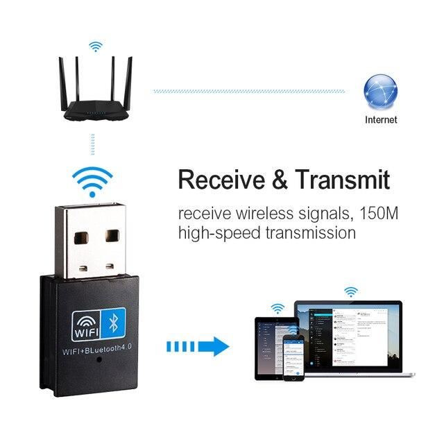 Sans fil WiFi Bluetooth adaptateur 150Mbps USB WiFi adaptateur récepteur 2.4G Bluetooth V4.0 carte réseau émetteur IEEE 802.11b/g/n 3