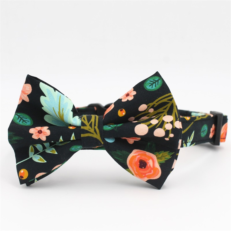 floral Dog collar bow tie matching lead for 5size to choose best wedding dog collar gifts