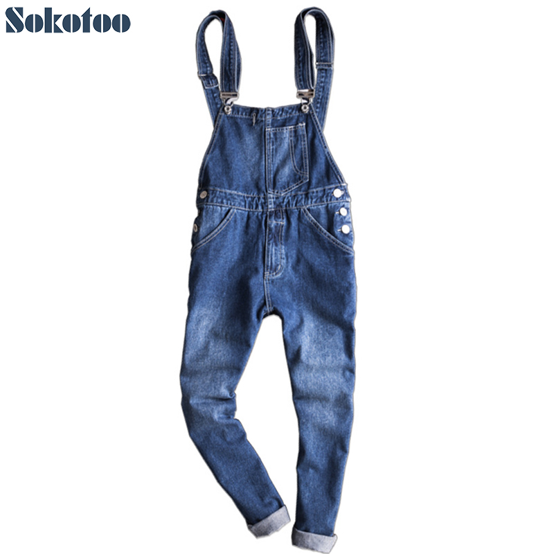 Sokotoo Men's ankle length slim denim bib overalls Casual suspenders jumpsuits Blue jeans yobangsecurity wireless video door phone doorbell intercom video entry intercom system with triple receivers 3 wireless receiver