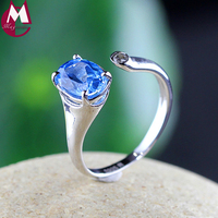 Pink Blue Topaz Wedding Ring 100 925 Sterling Silver Ring For Women Charms Fashion Engagement Jewelry