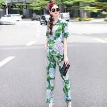 SVORYXIU Designer Autumn Casual Pants Set Women's Short Sleeves Green Flower Printed Shirt Top + Long Pants Pajamas Twinset